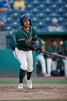 Nick Gonzales (2) of the Greensboro Grasshoppers at bat against the Hudson Valley Renegades at First National Bank Field on September 2, 2021 in Greensboro, North Carolina. (Brian Westerholt/Four Seam Images)