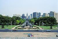 Philadelphia: Benjamin Franklin Parkway from Art Museum Steps--1917 & ?  Photo '85.