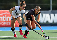 Kelsey Smith of South (L) competes with Alex Lukin during the Women's North v South hockey match, St Pauls Collegiate, Hamilton, New Zealand. Saturday 17 April 2021 Photo: Simon Watts/www.bwmedia.co.nz