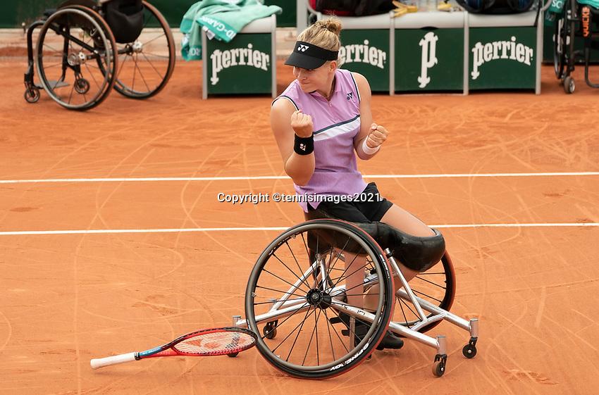 Paris, France, 7 june 2021, Tennis, French Open, Roland Garros,  Womans Wheelchair doubles final:  Dide de Groot (NED) and Aniek van Koot (NED) matchpoint<br /> Photo: tennisimages.com