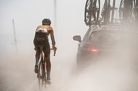 Dylan Teuns (BEL/Bahrein-Merida) is swallowed by the dust as he got dropped<br /> <br /> 14th Strade Bianche 2020<br /> Siena > Siena: 184km (ITALY)<br /> <br /> delayed 2020 (summer!) edition because of the Covid19 pandemic > 1st post-Covid19 World Tour race after all races worldwide were cancelled in march 2020 by the UCI