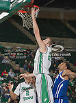 North Texas Mean Green forward Niko Stojiljkovic (25) in action during the game between the New Orleans Privateers and the University of North Texas Mean Green at the North Texas Coliseum,the Super Pit, in Denton, Texas. UNT defeated UNO 78 to 47.....