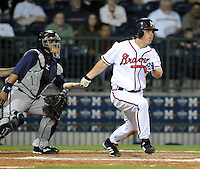 9 April 2008: Outfielder Mark Jurich (16) of the Mississippi Braves, Class AA affiliate of the Atlanta Braves, in the season's home opener against the Mobile BayBears at Trustmark Park in Pearl, Miss. Photo by:  Tom Priddy/Four Seam Images