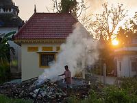 Burning rubbish, Monastery life and generic scenery in Battambang, Cambodia