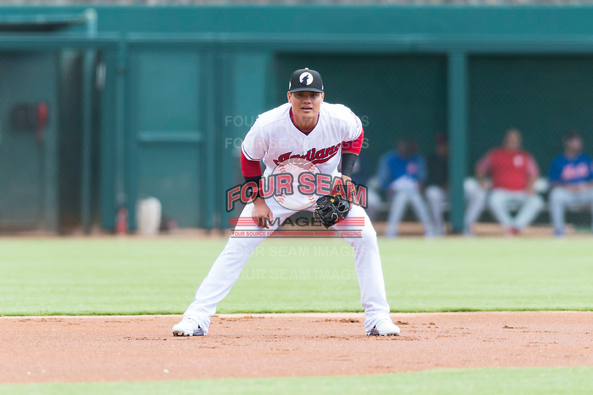 Glendale Desert Dogs third baseman Yu Chang (9), of the Cleveland Indians organization, during an Arizona Fall League game against the Scottsdale Scorpions at Camelback Ranch on October 16, 2018 in Glendale, Arizona. Scottsdale defeated Glendale 6-1. (Zachary Lucy/Four Seam Images)