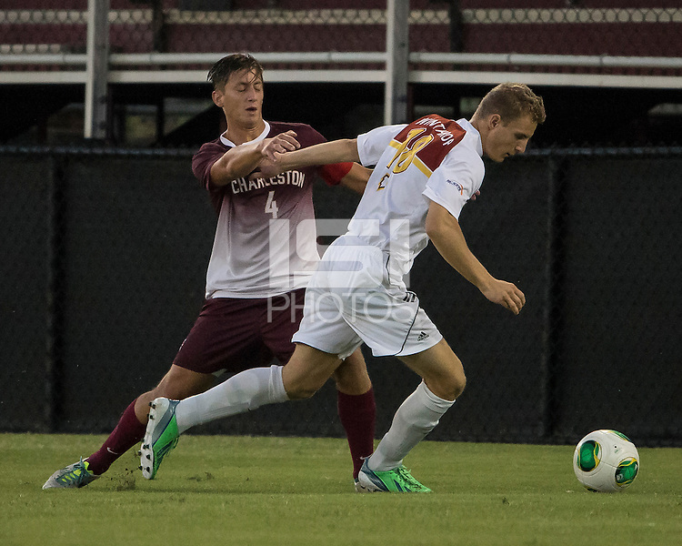 The Winthrop University Eagles played the College of Charleston Cougars at Eagles Field in Rock Hill, SC.  College of Charleston broke the 1-1 tie with a goal in the 88th minute to win 2-1.  Max Hasenstab (18), Daan Brinkman (4)