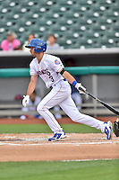 Tennessee Smokies third baseman Chesny Young (3) swings at a pitch during a game against the Jackson Generals at Smokies Stadium on July 5, 2016 in Kodak, Tennessee. The Generals defeated the Smokies 6-4. (Tony Farlow/Four Seam Images)