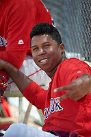 Boston Red Sox Anyelo Leclerc (50) during a minor league Spring Training game against the Tampa Bay Rays on March 23, 2016 at Charlotte Sports Park in Port Charlotte, Florida.  (Mike Janes/Four Seam Images)