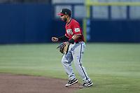 Carolina Mudcats second baseman Felix Valerio (4) on defense against the Kannapolis Cannon Ballers at Atrium Health Ballpark on June 9, 2021 in Kannapolis, North Carolina. (Brian Westerholt/Four Seam Images)