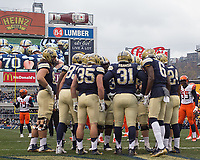 The Pitt offense huddles up. The Pitt Panthers defeated the Syracuse Orange 76-61 at Heinz Field in Pittsburgh, Pennsylvania on November 26, 2016.