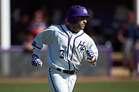 Tim Mansfield (3) of the High Point Panthers hustles down the first base line against the NJIT Highlanders at Williard Stadium on February 19, 2017 in High Point, North Carolina. The Panthers defeated the Highlanders 6-5. (Brian Westerholt/Four Seam Images)