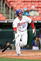Buffalo Bisons outfielder Kevin Pillar (22) at bat during a game against the Louisville Bats on April 29, 2014 at Coca-Cola Field in Buffalo, New  York.  Buffalo defeated Louisville 4-1.  (Mike Janes/Four Seam Images)