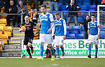 St Johnstone v Partick Thistle…28.04.18…  McDiarmid Park    SPFL<br />Conor Sammon runs back with the ball after scoring from the penalty spot<br />Picture by Graeme Hart. <br />Copyright Perthshire Picture Agency<br />Tel: 01738 623350  Mobile: 07990 594431