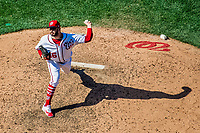 9 July 2017: Washington Nationals pitcher Oliver Perez on the mound against the Atlanta Braves at Nationals Park in Washington, DC. The Nationals defeated the Atlanta Braves to split their 4-game series going into the All-Star break. Mandatory Credit: Ed Wolfstein Photo *** RAW (NEF) Image File Available ***