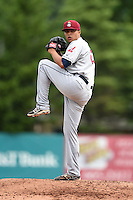 Mahoning Valley Scrappers pitcher Luis DeJesus (23) delivers a pitch during a game against the Jamestown Jammers on June 16, 2014 at Russell Diethrick Park in Jamestown, New York.  Mahoning Valley defeated Jamestown 2-1.  (Mike Janes/Four Seam Images)