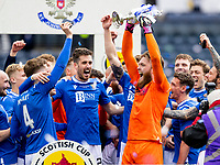 22nd May 2021; Hampden Park, Glasgow, Scotland; Scottish Cup Football Final, St Johnstone versus Hibernian Zander Clark of St Johnstone and St Johnstone players lift the Scottish cup  after winning the final by the score of 1-0