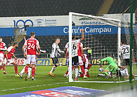 21st November 2020; Liberty Stadium, Swansea, Glamorgan, Wales; English Football League Championship Football, Swansea City versus Rotherham United; Players scramble for the ball towards the end of the second half