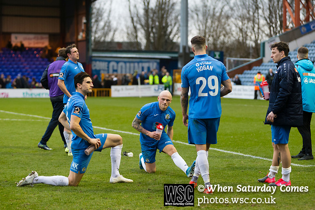Disappointed Stockport players at full time. Stockport County v Barnet, 07032020. Edgeley Park, National League. Photo by Paul Thompson.