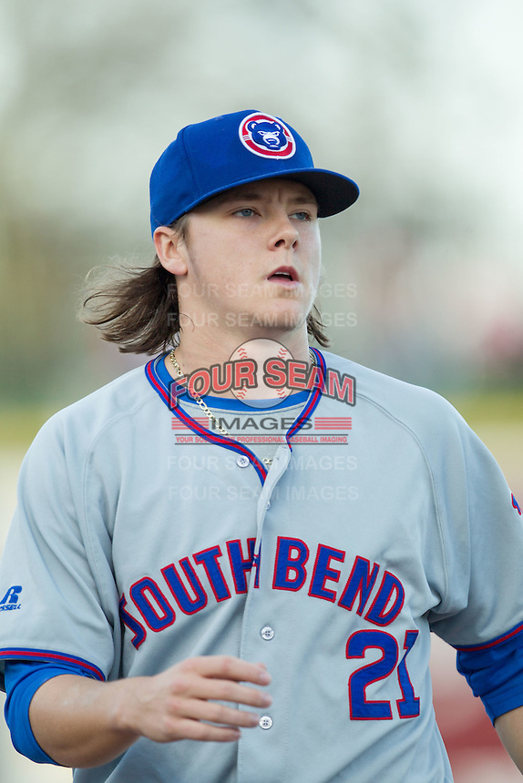 South Bend Cubs pitcher Justin Steele (21) before the game against the Great Lakes Loons on May 18, 2016 at Dow Diamond in Midland, Michigan. Great Lakes defeated South Bend 5-4. (Andrew Woolley/Four Seam Images)