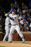 Chicago Cubs David Ross (3) bats in the third inning during Game 5 of the Major League Baseball World Series against the Cleveland Indians on October 30, 2016 at Wrigley Field in Chicago, Illinois.  (Mike Janes/Four Seam Images)