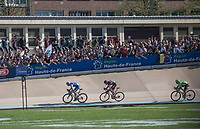 Finish sprint with Zdenek Stybar (CZE/Quick Step Floors), Greg Van Avermaet (BEL/BMC) and Sebastian Langeveld (NED/Cannondale-Drapac)<br /> <br /> 115th Paris-Roubaix 2017 (1.UWT)<br /> One day race: Compiègne > Roubaix (257km)