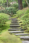 Woodland stairs in natural garden.  The Japanese Garden in Portland is a 5.5 acre respit.  Said to be one of the most authentic Japanese Garden's outside of Japan, the rolling terrain and water features symbolize both peace and strength. Public, city facility
