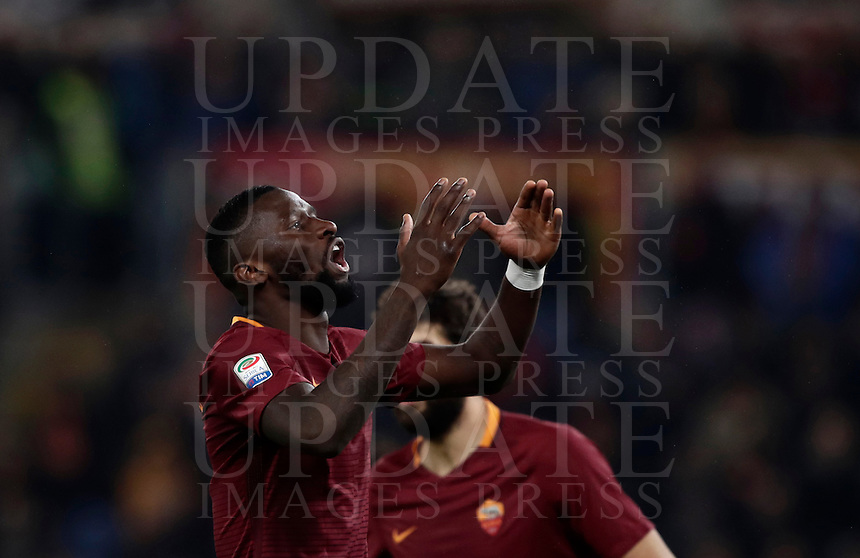 Calcio, Serie A: Roma vs Milan. Roma, stadio Olimpico, 12 dicembre 2016.<br /> Roma's Antonio Ruediger reacts during the Italian Serie A football match between Roma and AC Milan at Rome's Olympic stadium, 12 December 2016.<br /> UPDATE IMAGES PRESS/Isabella Bonotto