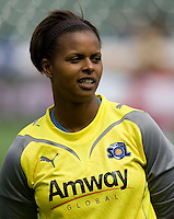 LA Sol goalkeeper Karina LeBlanc. The LA Sol defeated the Washington Freedom 2-0 in the opening game of Womens Professional Soccer at Home Depot Center stadium on Sunday March 29, 2009.  .Photo by Michael Janosz