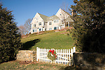 New England shingled estate and gate with wreath, Madison, CT ..