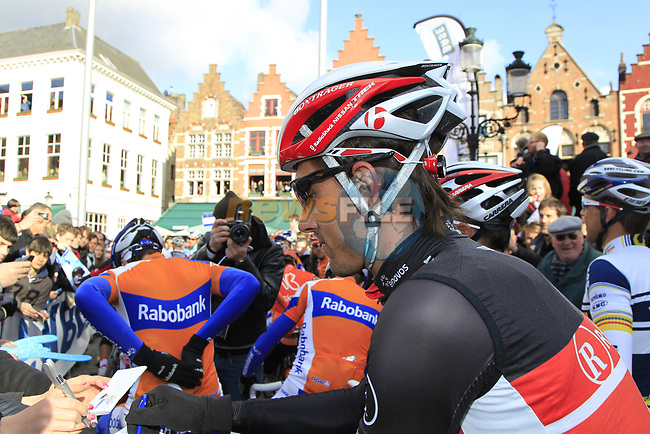 Swiss National Champion Fabian Cancellara (SUI) Radioshack-Nissan signs autographs before the start of the 96th edition of The Tour of Flanders 2012 in Bruges Market Square, running 256.9km from Bruges to Oudenaarde, Belgium. 1st April 2012. <br /> (Photo by Eoin Clarke/NEWSFILE).