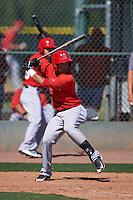 Los Angeles Angels Roberto Baldoquin (4) during an instructional league game against the Oakland Athletics on October 9, 2015 at the Tempe Diablo Stadium Complex in Tempe, Arizona.  (Mike Janes/Four Seam Images)
