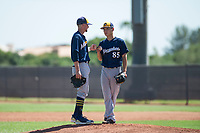 Milwaukee Brewers shortstop Brice Turang (2) offers words of encouragement to relief pitcher Lun Zhao (85) during an Instructional League game against the San Diego Padres at Peoria Sports Complex on September 21, 2018 in Peoria, Arizona. (Zachary Lucy/Four Seam Images)