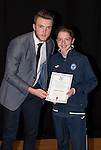 St Johnstone FC Academy Awards Night...06.04.15  Perth Concert Hall<br /> Zander Clark presents a certificate to Adam Harper<br /> Picture by Graeme Hart.<br /> Copyright Perthshire Picture Agency<br /> Tel: 01738 623350  Mobile: 07990 594431