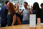 Apple's new iPhone 8 is seen at the Apple Store in Tokyo's Omotesando shopping district in Japan on September 22, 2017. Apple Inc.'s new iPhone 8 and iPhone 8 Plus smartphones went on sale in Japan. (Photo by YUTAKA/AFLO)