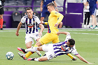 Real Valladolid's Fede San Emeterio (l) and Oscar Plano (r) and FC Barcelona's Clement Lenglet during La Liga match. July 11,2020. (ALTERPHOTOS/Acero)<br /> 11/07/2020<br /> Liga Spagna 2019/2020 <br /> Valladolid - Barcelona <br /> Foto Alterphotos / Insidefoto <br /> ITALY ONLY