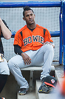 Ozzie Martinez (1) of the Bowie Baysox  prior to the game against the Richmond Flying Squirrels at The Diamond on May 23, 2015 in Richmond, Virginia.  The Baysox defeated the Flying Squirrels 3-2.  (Brian Westerholt/Four Seam Images)