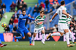 Takashi Inui of SD Eibar (C) in action against Markel Bergara of Getafe CF (R) during the La Liga 2017-18 match between Getafe CF and SD Eibar at Coliseum Alfonso Perez Stadium on 09 December 2017 in Getafe, Spain. Photo by Diego Souto / Power Sport Images