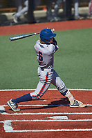 Sam Low (6) of the Florida Atlantic Owls at bat against the Charlotte 49ers at Hayes Stadium on April 2, 2021 in Charlotte, North Carolina. The 49ers defeated the Owls 9-5. (Brian Westerholt/Four Seam Images)