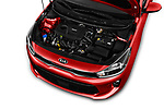 Car stock 2018 KIA Rio EX 5 Door Hatchback engine high angle detail view