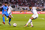 Sayed Dhiya Saeed of Bahrain (R) in action as Pritam Kotal of India (L) tries to stop him during the AFC Asian Cup UAE 2019 Group A match between India (IND) and Bahrain (BHR) at Sharjah Stadium on 14 January 2019 in Sharjah, United Arab Emirates. Photo by Marcio Rodrigo Machado / Power Sport Images