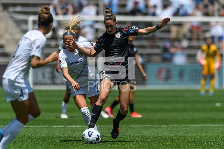 BRIDGEVIEW, IL - JUNE 5: Morgan Gautrat #13 of the Chicago Red Stars dribbles the ball during a game between North Carolina Courage and Chicago Red Stars at SeatGeek Stadium on June 5, 2021 in Bridgeview, Illinois.