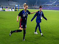 ORLANDO, FL - FEBRUARY 24: Emily Sonnett #14 and Rose Lavelle #16 of the USWNT dance during a game between Argentina and USWNT at Exploria Stadium on February 24, 2021 in Orlando, Florida.