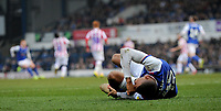 Ipswich Town's Collin Quaner on the floor in pain<br /> <br /> Photographer Hannah Fountain/CameraSport<br /> <br /> The EFL Sky Bet Championship - Ipswich Town v Stoke City - Saturday 16th February 2019 - Portman Road - Ipswich<br /> <br /> World Copyright © 2019 CameraSport. All rights reserved. 43 Linden Ave. Countesthorpe. Leicester. England. LE8 5PG - Tel: +44 (0) 116 277 4147 - admin@camerasport.com - www.camerasport.com