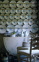 Rows of blue and white plates are displayed on wall-to-wall plate racks.