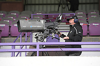 Illustration picture shows the TV cameraman at the Forestier Stadium during a female soccer game between SV Zulte - Waregem and Club Brugge YLA on the fourth matchday of the 2021 - 2022 season of the Belgian Scooore Womens Super League , saturday 11 of September 2021  in Harelbeke , Belgium . PHOTO SPORTPIX | DIRK VUYLSTEKE