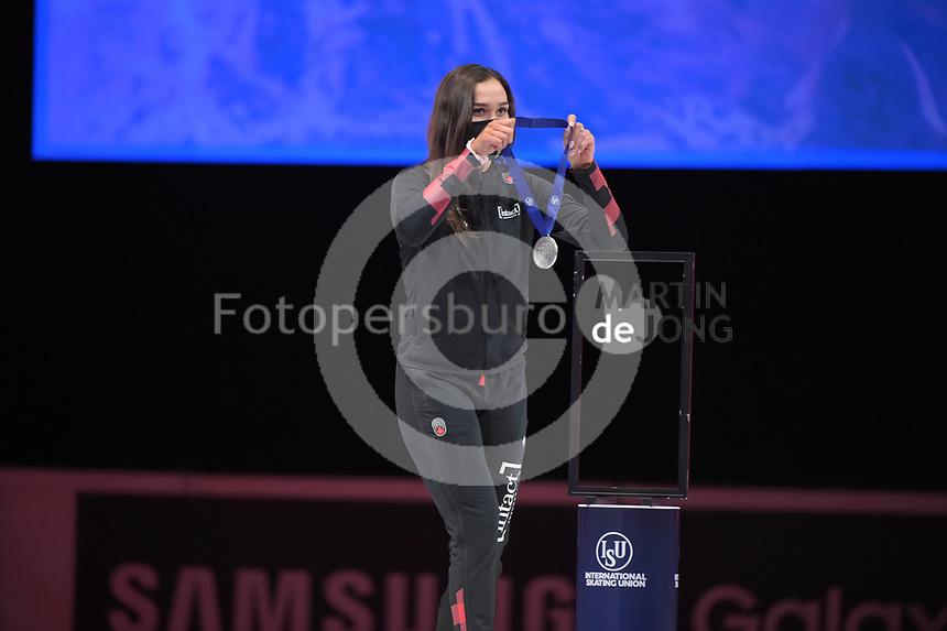 SPEEDSKATING: DORDRECHT: 06-03-2021, ISU World Short Track Speedskating Championships, Podium 1500m Ladies, Courtney Sarault (CAN), ©photo Martin de Jong