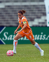 Sky Blue FC midfielder/forward Heather O'Reilly (9) works the ball  during a WPS match at Anheuser-Busch Soccer Park, in St. Louis, MO, June 7, 2009. Athletica won the match 1-0.