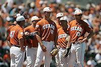 Texas Longhorns await a pitching change during the 2008 season. Photo by Andrew Woolley / Four Seam Images.