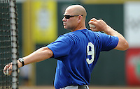Manager Mike DiFelice (9) of the Kingsport Mets in a game against the Johnson City Cardinals on July 17, 2010, at Howard Johnson Field in Johnson City, Tenn. Photo by: Tom Priddy/Four Seam Images