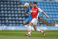 MC Harvey and Jake Fowler during the Celebrity football match in aid of the charity's 'Keep Moving Forward' programme which benefits people with mental health issues put together by Wycombe Wanderers Sports & Education Trust and Sellebrity Soccer Football Match at Adams Park, High Wycombe, England on 7 April 2019. Photo by David Horn.